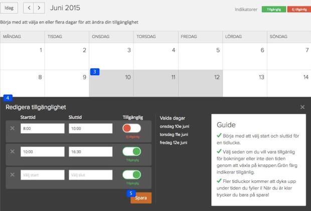 Tillgänglighet kalender